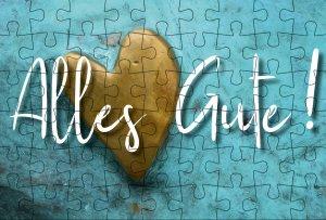 Puzzle-Postkarte Alles Gute